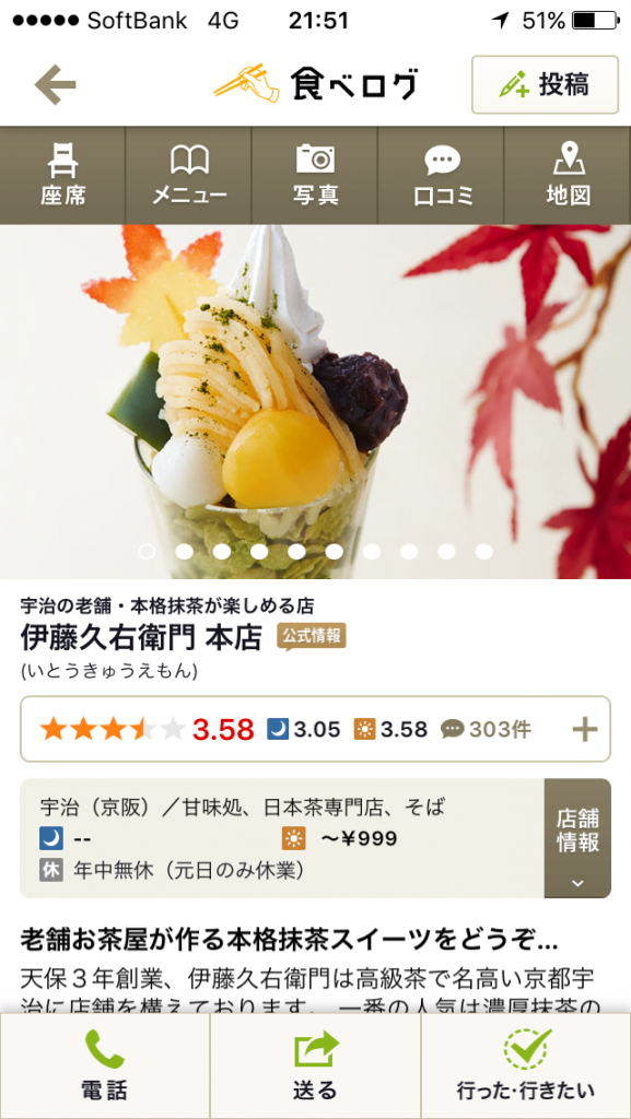 伊藤久右衛門の食べログの点数