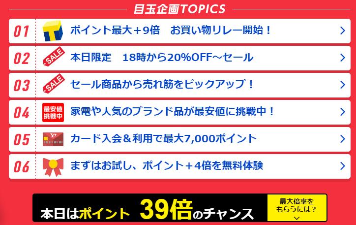 Yahoo!JAPANカードのポイント最大還元39倍